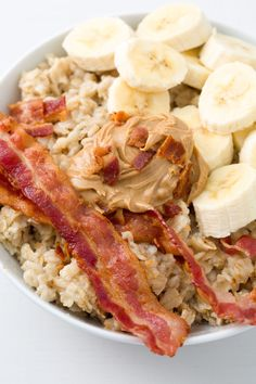 Elvis was known for his bizarre food cravings, including his love of bacon, banana, and peanut butter sandwiches. That combo is so good, we topped it on oatmeal. Get the recipe from Delish.   - Delish.com