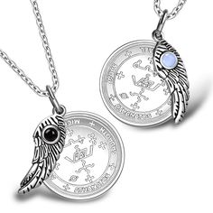 Love Couples Archangel Michael Sigils Amulets Set Angel Wings Simulated Onyx Sky Blue Cats Eye Necklaces