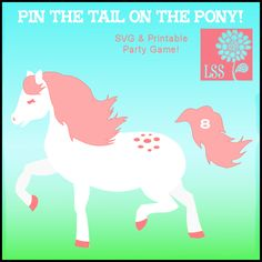 Here is a new twist on a classic party game! Forget the donkey and pin the tail on this cute pony! You get an seperated SVG cutting file as well as the original SVG vector artwork and a printable game. On the game you will find instructions for printing the game to poster size using a standard home printer or you can send it away to be printed large at a copy shop such as Kinko's. Happy pinning!