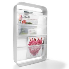 White Wall Mounted Magazine Rack