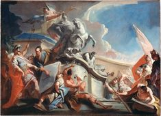 Alexander the Great with the Sculptor Lysippos Looking at the Design of His Equestrian Statue, um 1731/33 - Alexander der Große mit dem Bildhauer Lysipp, den Entwurf seines Reiterstandbildes betrachtend, um 1731/33  Carlo Innocenzo Carlone , Staatsgalerie Stuttgart