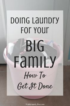 Doing laundry for your large household does not have to be overwhelming! These strategies and laundry tips for a big family will help you get the job done! Large Family Organization, Kids Clothes Organization, Family Organizer, Laundry Room Organization, Laundry Tubs, Laundry Hacks, Tips And Tricks, Laundry Schedule, Green Living Tips