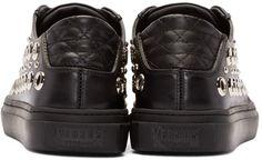 Versus Black Leather Eyelet Low-Top Sneakers