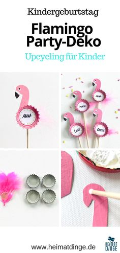 Make sustainable party decoration yourself: reusable flamingo party picker from bottle caps - upcycling deko Upcycled Home Decor, Upcycled Crafts, Diy Crafts To Sell, Easy Crafts, Flamingo Party, Flamingo Birthday, Diy Projects For Kids, Crafts For Kids, Decoration Chic