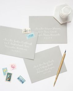 This short tutorial teaches you how to use white ink in your calligraphy work. Click through to learn. Calligraphy Nibs, Calligraphy Supplies, Calligraphy Tutorial, Calligraphy For Beginners, Calligraphy Envelope, Learn Calligraphy, Lettering Tutorial, Modern Calligraphy, Calligraphy Handwriting