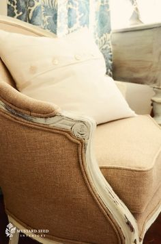 "French Barrel Chair with Natural ""Burlap"" Fabric = Miss Mustard Seed - Love it!"
