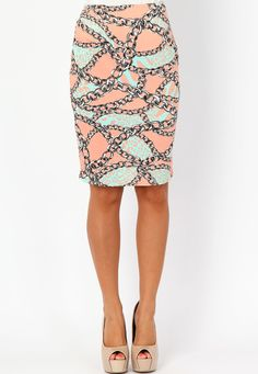 Haniss Chain Print Pencil Skirt