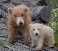 Grizzly Bear Cub Needle felted Brown Bear by ClaudiaMarieFelt