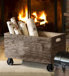 Recycled Wooden Storage Box with Wheels | Wood Storage