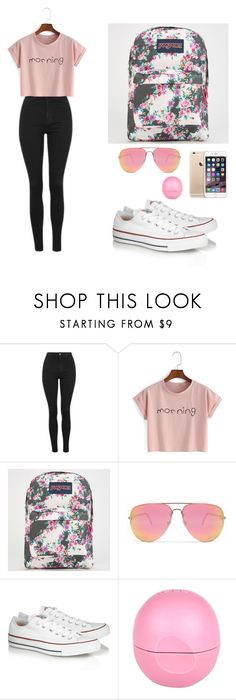 """Untitled #61"" by caroline2405 on Polyvore featuring Topshop, WithChic, JanSport, Quay, Converse and River Island"
