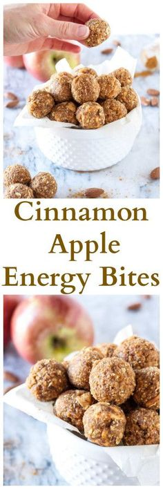 Cinnamon Apple Energy Bites | www.reciperunner.com | Healthy, gluten free, vegan, energy bites that taste just like apple pie! All clean eating ingredients are used for this healthy energy bite recipe. Pin now for later.