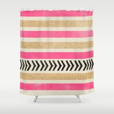Black and gold shower curtain striped shower curtain white