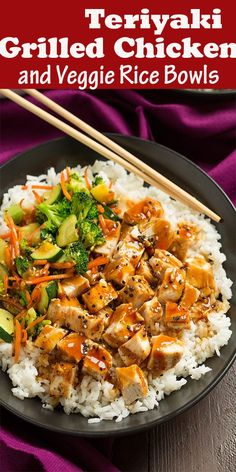 Teriyaki Grilled Chicken and Veggie Rice Bowls . - Teriyaki Grilled Chicken and Veggie Rice Bowls … Teriyaki Grilled Chicken and Veggie Rice Bowls Grilled Chicken Recipes, Easy Chicken Recipes, Salmon Recipes, Asian Recipes, Recipe Chicken, Teriyaki Chicken Bowl Recipe, Teriyaki Chicken And Rice, Garlic Chicken, Simple Recipes