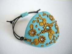 Polymer clay bracelet Turquoise bracelet Adjustable por MisakoBeads