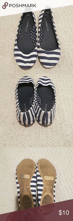 Striped ballet slippers Worn a few times Love Culture Shoes