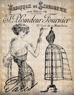 Antique Paris Dress Form Shoppe France French Illustration Digital Download for Tea Towels, Transfer, Pillows, etc Burlap No 3699. $1,00, via Etsy.