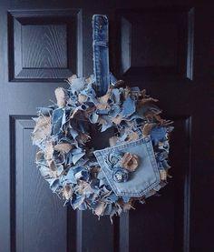 Denim Wreath Burlap Rag Wreath Rag Wreath by Rusticchickboutique1 Wreath Burlap, Fabric Wreath, Diy Wreath, Wreaths, Jean Crafts, Denim Crafts, Rustic Crafts, Burlap Crafts, Welcome Wreath
