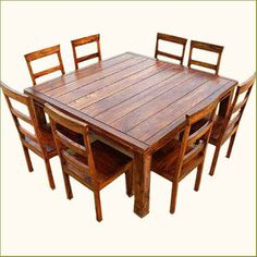 Rustic 9 pc Square Dining Room Table & 8 Person Seat Chairs Set Furniture NEW