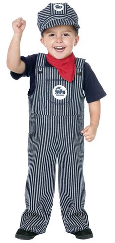 Overalls/Train Conductor Costume  _Get some nice osh kosh overalls or wrangler, levi's.  -Look for hat!!!!!!!!!!!
