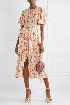 Michael Kors Collection - Belted Ruffled Floral-print Silk Crepe De Chine Midi Dress - Pink in 2020 Trendy Dresses, Simple Dresses, Casual Dresses, Fashion Dresses, Summer Dresses, Pink Midi Dress, Chiffon Dress, Silk Skirt, Decades Fashion
