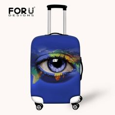 For u designs world map eye suitcase cover