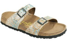 Papillio Sydney Cork Flower Turquoise Cork/Leather Two thinner, contoured straps make this style very comfortable for those with prominent foot bones. Creative patterns and materials set the Papillio Sydney apart. #birkenstock #birkenstockexpress.com  $105