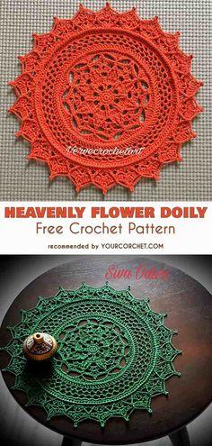 Heavenly Flower Doily Free Crochet Pattern #freecrochetpatterns #crochetdoily #homedecor