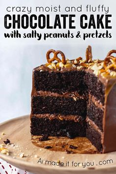 Super moist and fluffy chocolate cake with chocolate cream cheese frosting, topped with salty peanuts and pretzels, and drizzled with caramel! #chocolatecake #chocolatepeanuts #chocolatepretzels #chocolateandcaramel #birthdaycake #layercake Homemade Cake Recipes, Best Dessert Recipes, Easy Desserts, Baking Recipes, Delicious Desserts, Fluffy Chocolate Cake, Decadent Chocolate Cake, Chocolate Sweets, Coffee Cake Loaf