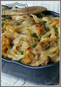 Recipe For Chicken Fettuccine Bake - This is the best pasta bake I have ever had and it is because it is so creamy, there is not one dry noodle in this dish. Hope you and your family enjoy it too.