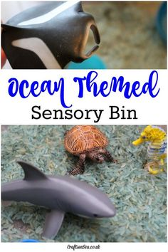 This simple ocean themed sensory bin for kids is easy to set up and tidy up too. Perfect for preschool ocean themed activities or fun sensory play at home.