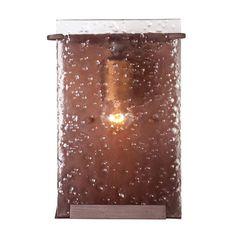 Varaluz Rain 1-Light Hammered Ore Bath Vanity Light with Recycled Hand-Pressed Rain Glass