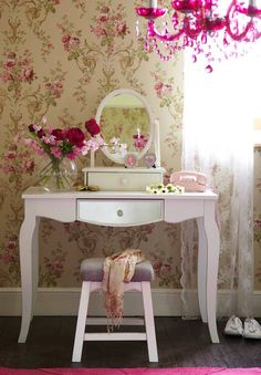 If you cant manage to track down an authentic vintage dressing table buy an imitation. Then create a background in vintage themed wallpaper. This is much more common and easy to find.