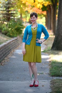 Already Pretty outfit featuring teal cardigan, lime green dress, red suede pumps, Lydell NYC pearl and rhinestone necklace, rhinestone bracelet