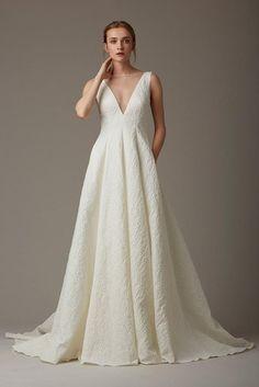 matelasse wedding dress with plunging v neck