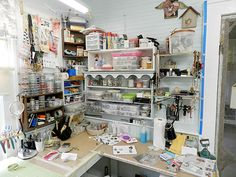 Studio Corner Re-Do...before and after over at Shabby Cottage Studio.