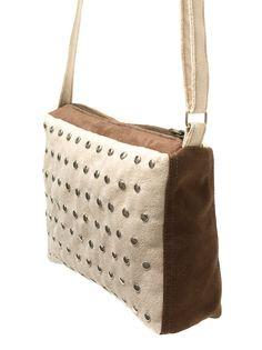 Small cream & brown studded purse made of alcantara