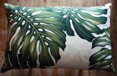 retro monstera leaf  lumber cushion cover small