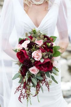 Burgundy Beauty via Top 10 Swoon Worthy Wedding Bouquets for Autumn Brides