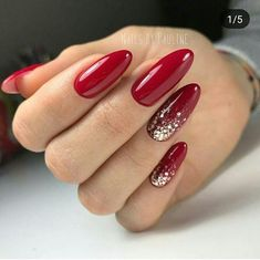 Red gel nails with sparkle accent red shellac nails, hot nails, matte Red Shellac Nails, Sparkle Gel Nails, Red Acrylic Nails, Hot Nails, Glitter Nail Art, Pink Nails, Polish Nails, Accent Nail Glitter, Red Nails With Glitter