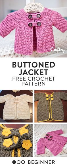 This crochet baby jacket will have your baby looking even more adorable! - get the free beginner pattern at Craftsy!