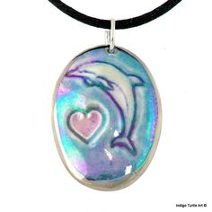 Dolphin Love porcelain pendant dolphin jumps over a sweet pink heart on blue ceramic necklace holographic glaze 22K gold or platinum trim