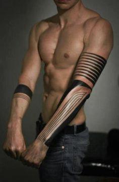 Tattoo - Arm - Tribal - Line - Black