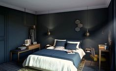 Despite the fact that the furniture and decor for COQ Hotel were made by French manufacturers, the interiors evokes thoughts of Scandinavian design. ✌Pufikhomes - source of home inspiration Living Room Interior, Living Room Decor, Bedroom Decor, Paris Bedroom, Blue Bedroom, Master Bedroom, Coq Hotel Paris, Hotel Room Design, Interiores Design