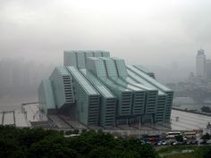 CQTheatre - Chongqing Grand Theatre by Hassell . landscape no green, facade material