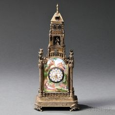 Viennese Silver and Enamel Tower-form Clock Austria, late century, enamel panel sides with owl-topped columns and circular clock, the movement inscribed John Wolffle Wien, overall ht. 10 in. Clocks For Sale, Art For Sale, European Furniture, Time Clock, Antique Clocks, Tea Service, Silver Enamel, Art Decor, Im Not Perfect