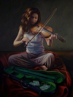 Street Music by Christina Ramos Dance Music, Art Music, Latin Music, Christina Ramos, Music Memes Funny, Violin Case, Music Studio Room, Street Musician, Music Festival Fashion