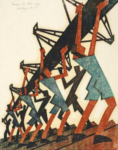 Sybil Andrews Modernist Linocut Prints Bringing in the Boat, 1933 Woodcut Art, Linocut Prints, Art Prints, Block Prints, Illustrations, Illustration Art, Sybil Andrews, Modern Art, Contemporary Art