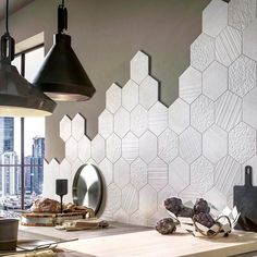 See the latest in kitchen backsplash trends, bathroom floor & wall styles, and much more! Honeycomb Tile, Hexagon Tiles, Hexagon Backsplash, Kitchen Interior, Kitchen Design, Quirky Kitchen, Kitchen Wall Tiles, Home Room Design, Room Decor