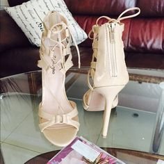 """Sexy shoes! Nude color satrapy shoes! In excellent condition! I wore it only once  it says size 9 but fits me perfectly and I'm size 8-8.5! The heel is 5"""" high Shoes Heels"""