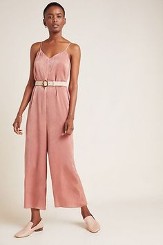 Rosa Satin Jumpsuit by If By Sea in Pink Size: Xs, Women's Jumpsuits at Anthropologie Urban Outfitters, Salopette Jeans, Satin Jumpsuit, Overall, Legs Open, Fashion 2020, Jumpsuits For Women, Perfect Match, Blouse
